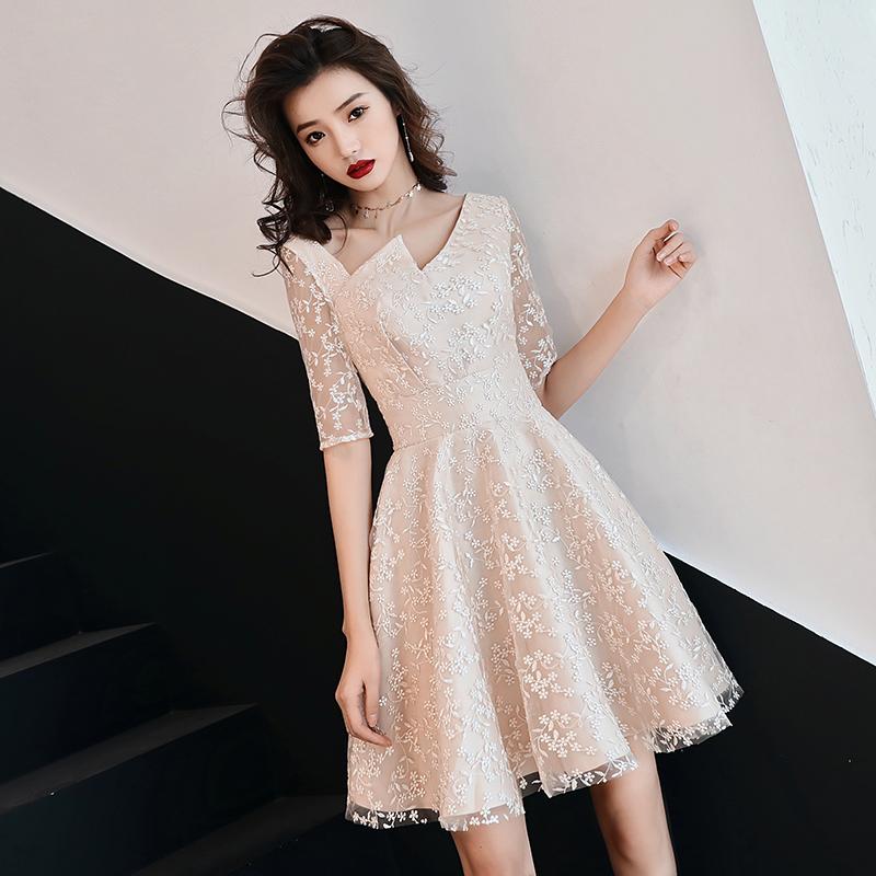 平时可穿香槟色伴娘服短款小个子学生气质宴会订婚晚礼服连衣裙女