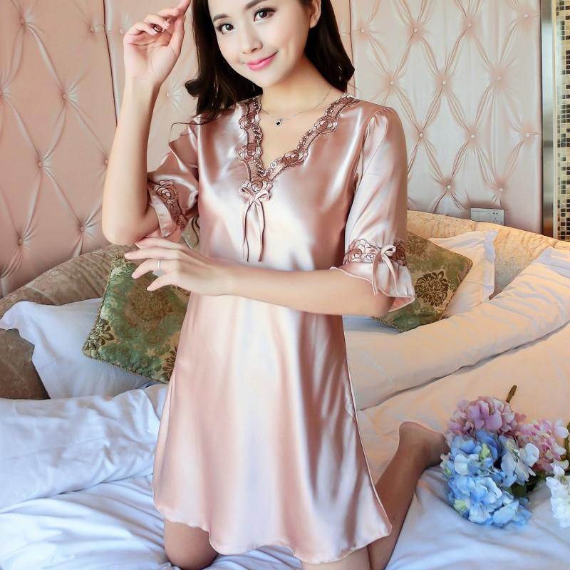 时尚睡裙女夏冰丝中裙家居服连衣裙薄款短袖蕾丝大码甜美丝质睡衣