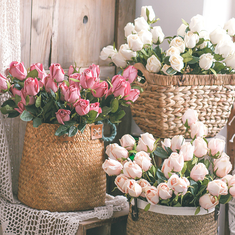 左岸麦田九头复古玫瑰客厅装饰品摆件花束仿真花绢花假花桌花摆设