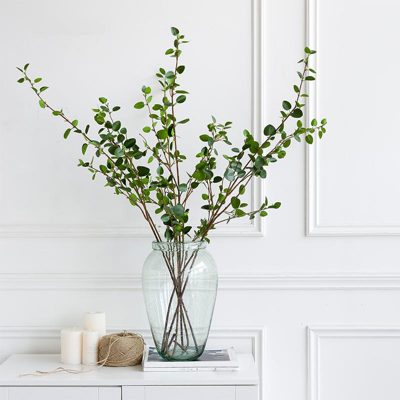 北歐國度 模擬榕樹枝綠植 客廳辦公室玻璃花瓶套裝飾 花藝擺件設