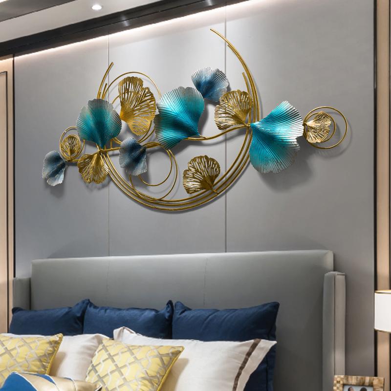 卧室墙面装饰品墙饰金属壁饰 银杏叶轻奢壁挂客厅沙发背景墙挂件