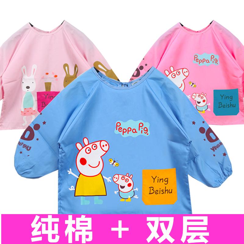 宝宝罩衣防水 纯棉 长袖 儿童围裙定制LOGO印字画画衣小孩反穿衣