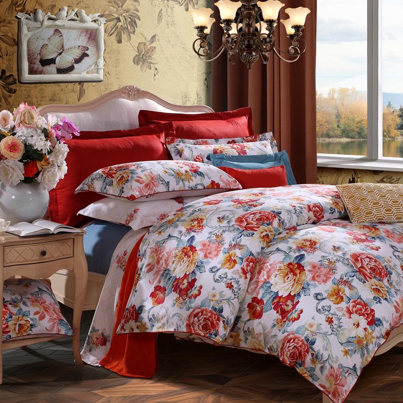 富安娜家纺纯棉四件套 全棉1.8m被套被罩4件套被单床单四季薄款