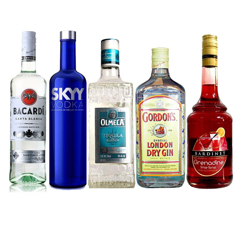 进阶套餐 五款品质基酒调酒豪饮洋酒套装 二十种自制鸡尾酒 一杯