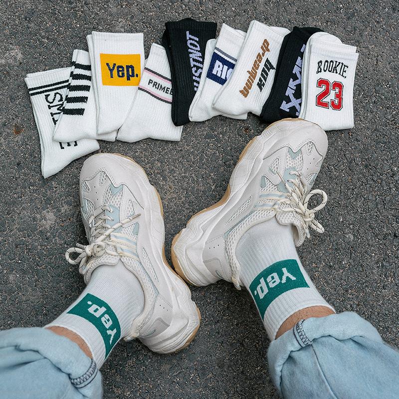 长袜子男士夏天薄款 潮流时尚个姓街头运动男袜中筒袜情侣袜女  ins
