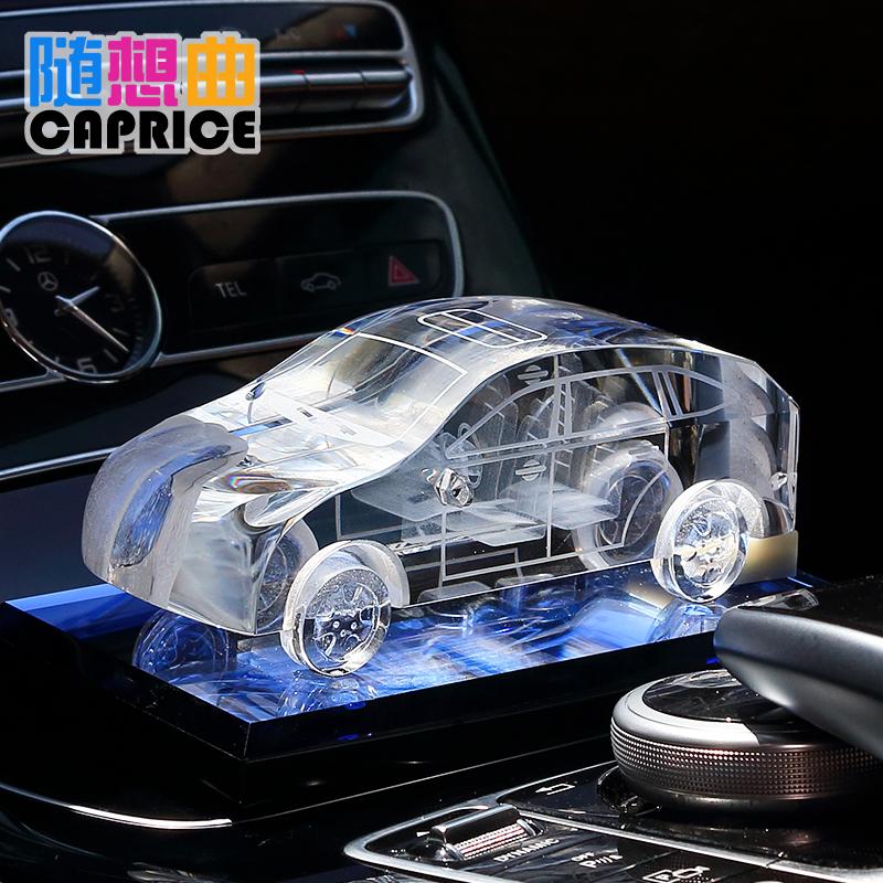 创意水晶仿真汽车模型车载车饰车内装饰品摆件家居客厅办公室桌面