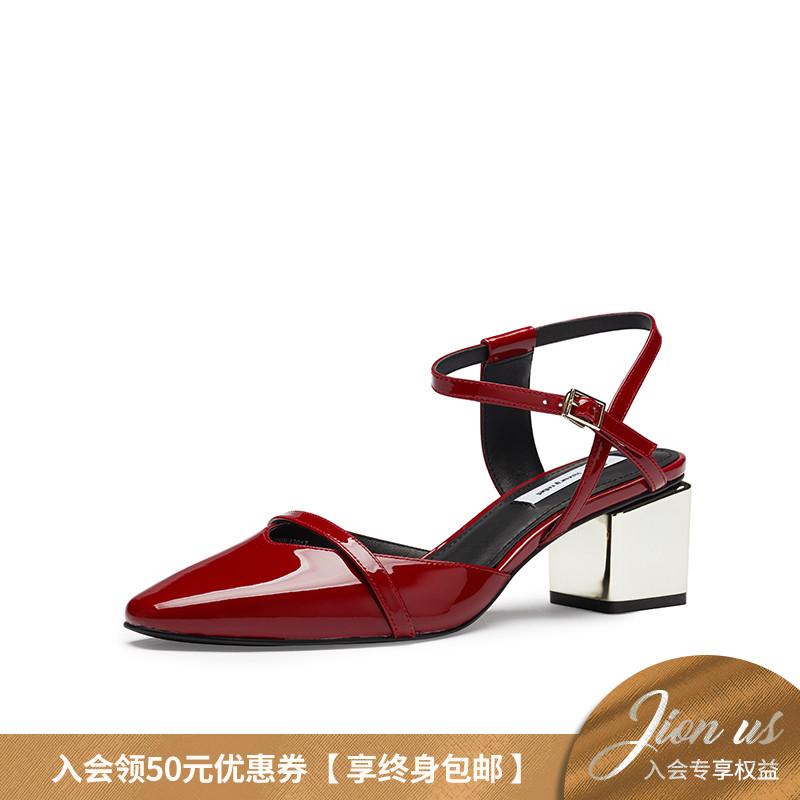 春新粗跟凉鞋女鞋中高跟红色 Rebel19 Luxury 女鞋 LR 预售黎贝卡推荐