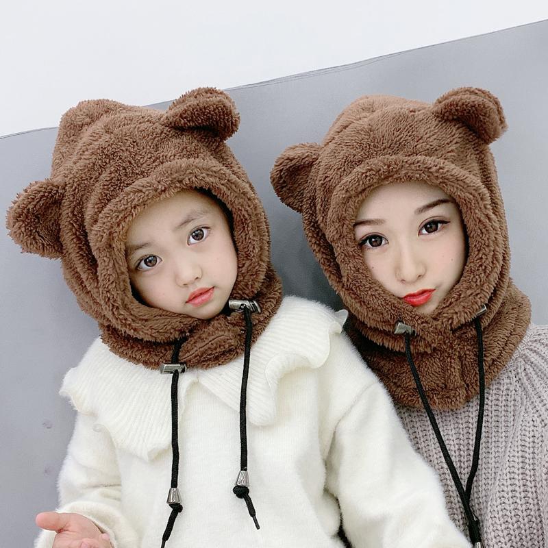 帽子围脖一体帽女冬加厚护颈保暖护耳电动车防风防寒儿童韩版学生