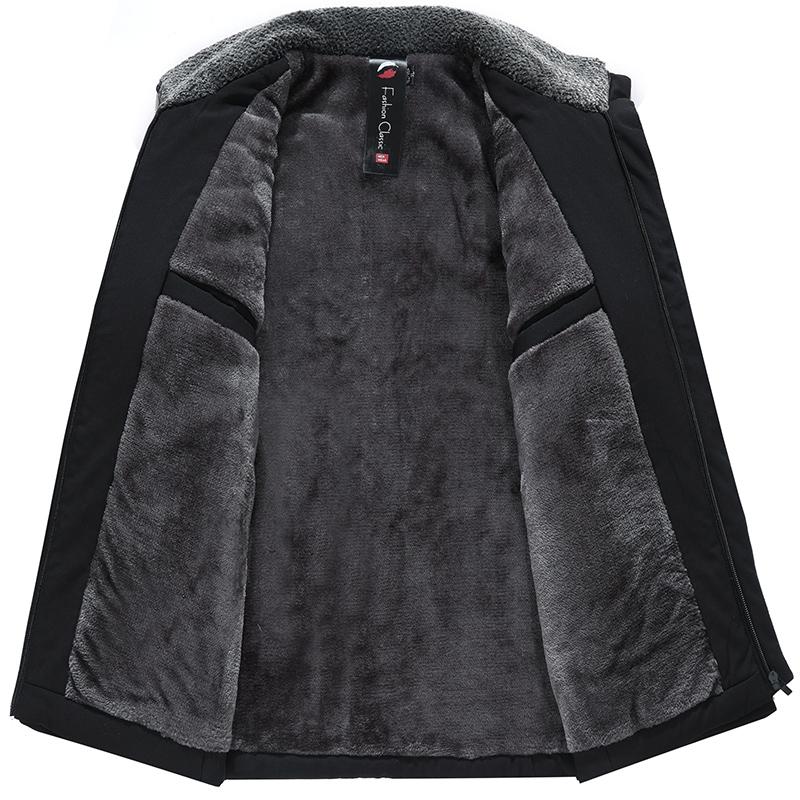 爸爸冬装外套短款羽绒棉服中老年人加绒加厚棉衣爷爷保暖棉袄冬季