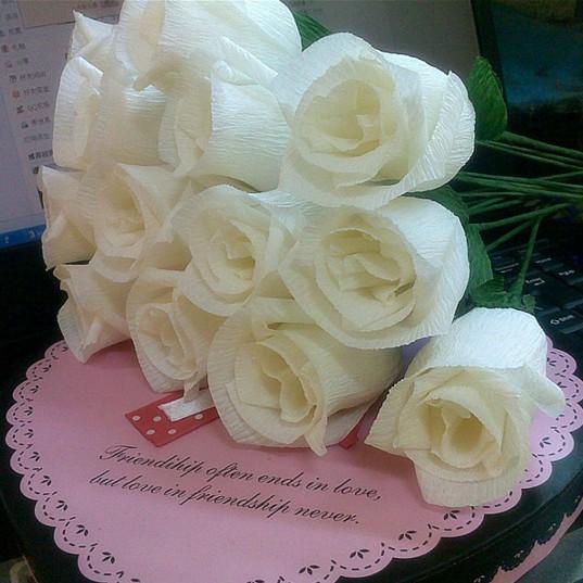加厚彩色皱纹纸diy手工材料纸玫瑰花鲜花包装纸卷边纸褶皱纸包邮
