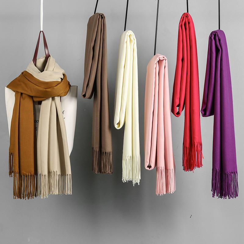 纯色围巾女冬季韩版百搭学生双面保暖围脖女冬薄款披肩秋冬天两用