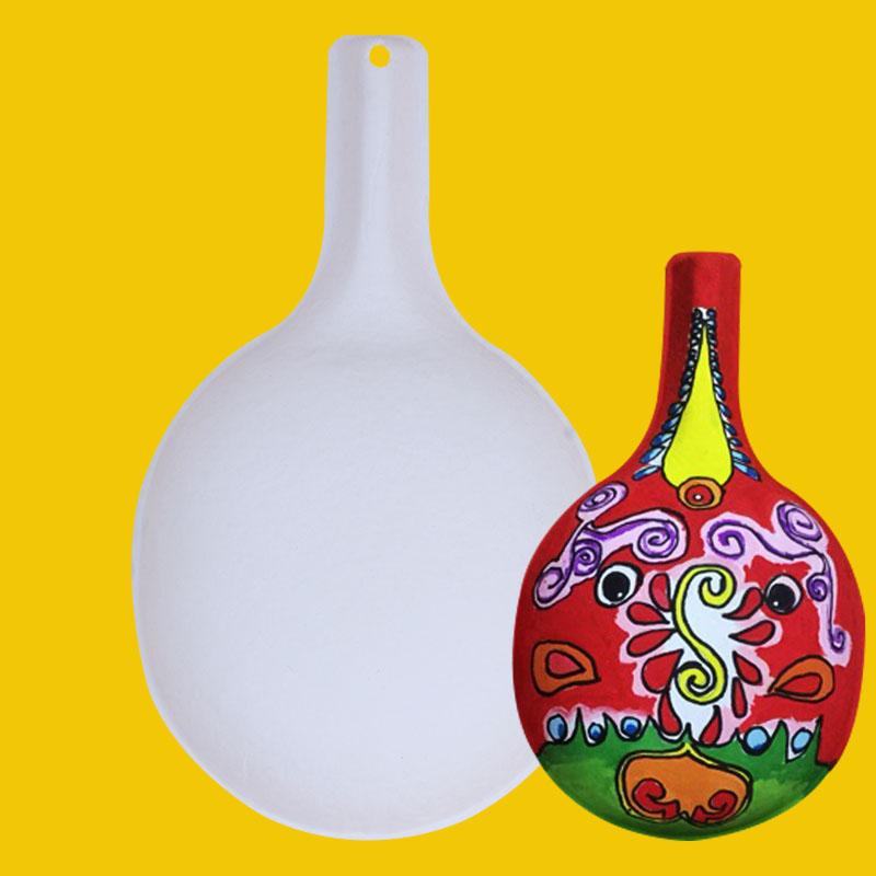 马勺葫芦纸浆面具脸谱手绘画空白涂色幼儿园diy儿童美术材料装饰