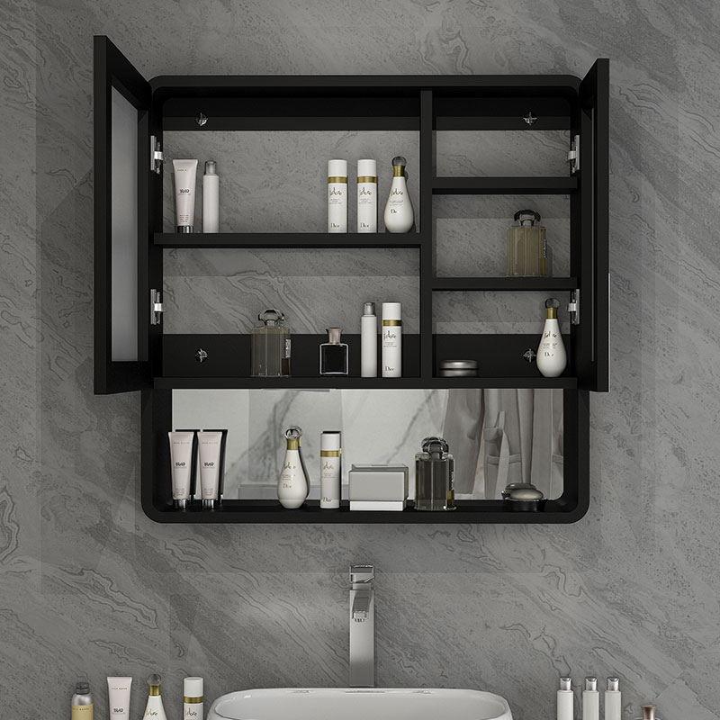 北欧黑白实木浴室镜柜防水卫生间镜箱挂墙式储物收纳镜子带置物架