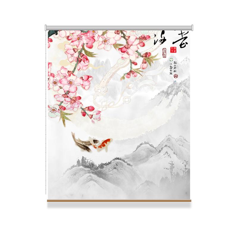 特价包邮中国风古典字画花鸟屏风隔断山水客厅阳台书房个性拉卷帘