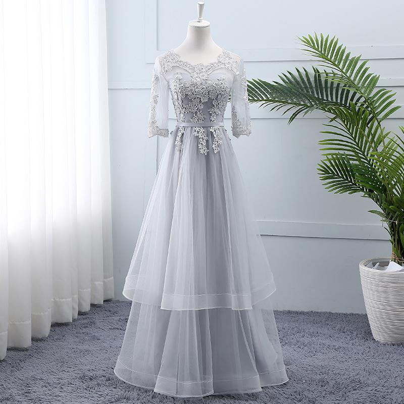 伴娘服长款2019新款夏季韩版姐妹裙伴娘团特别显瘦灰色伴娘礼服女