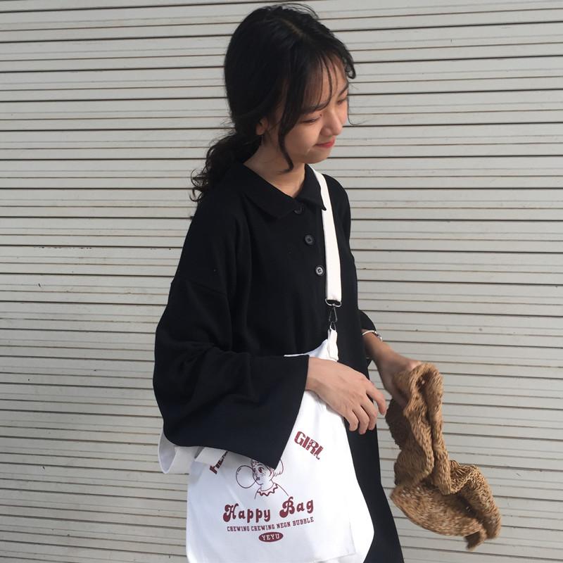 斜挎包包女2018新款潮韩版简约百搭文艺学生大容量单肩手提帆布袋