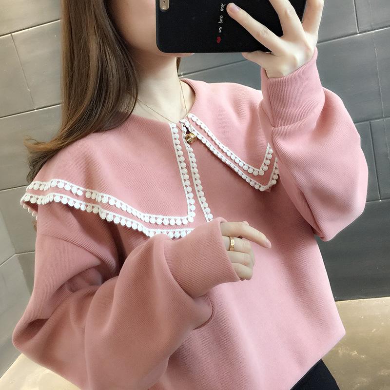2020秋装新款韩版娃娃领纯色学生卫衣女士洋气上衣外套春秋学院风主图