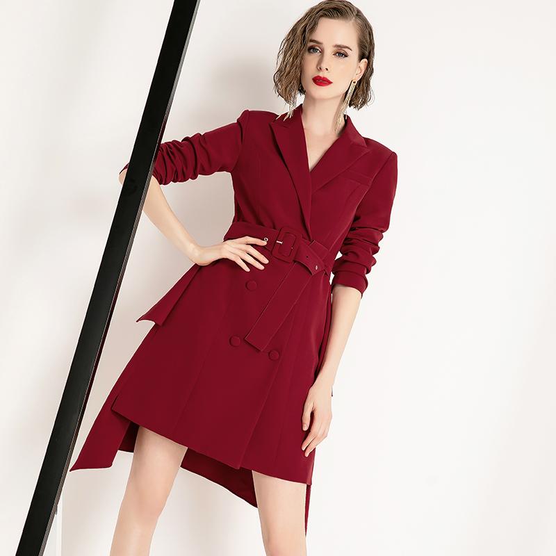 酒红色西装外套女设计感2021年春秋新款职业高端中长款小西服礼服主图