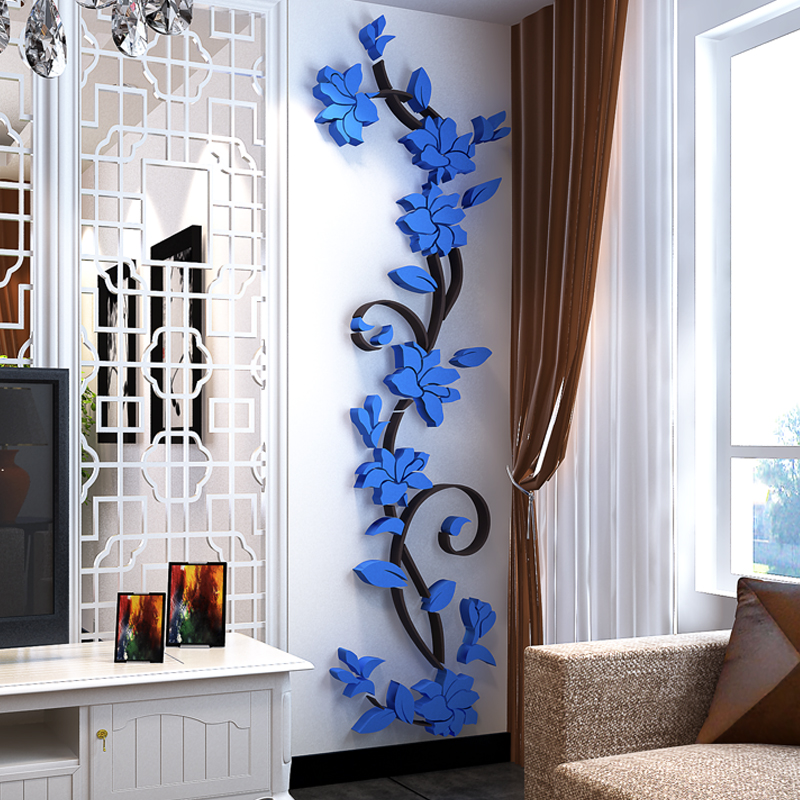 立体墙贴客厅玄关卧室沙发电视背景墙面装饰墙贴 3D 花藤亚克力水晶