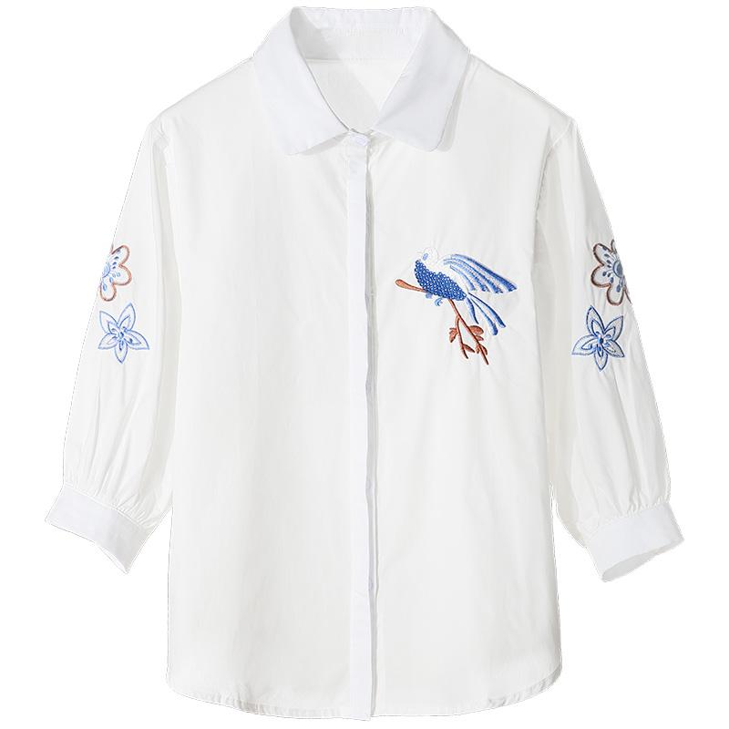秋装白衬衫女长袖民族风复古刺绣花上衣宽松显瘦纯棉打底衫衬衣