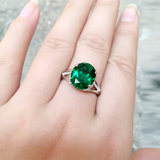 Emerald color gem ring ring female 925 sterling silver plated 18K white gold ring set with crystal tourmaline precious colored gemstones