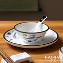 酒店家用摆台四件套陶瓷餐具包厢饭店餐厅碗盘摆台套装一人食餐具 - 3