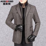 Dad Men's winter coat thick woolen jacket middle-aged men's business casual autumn and winter coat Amago