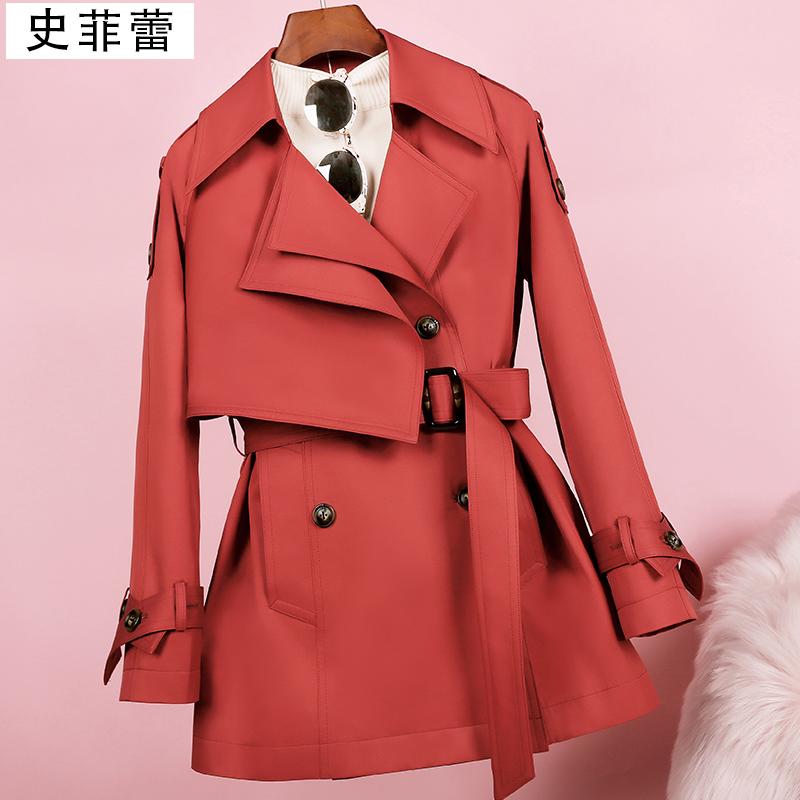 短款风衣女矮小个子砖红色休闲外套2021新款春秋中长款宽松大衣潮