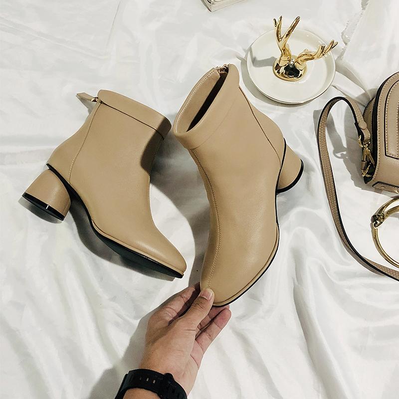 新款简约圆头时装靴后拉链纯色粗跟短筒裸靴子女靴 定制 viya 薇娅
