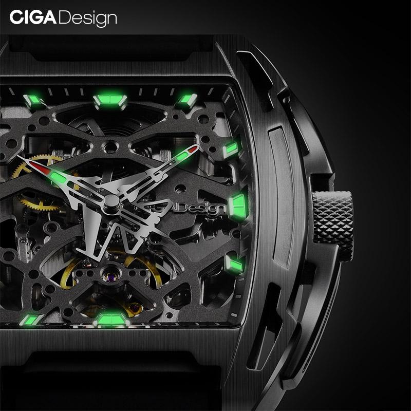 CIGA Design玺佳航母主题机械表夜光手表男机械表镂空表正品个性