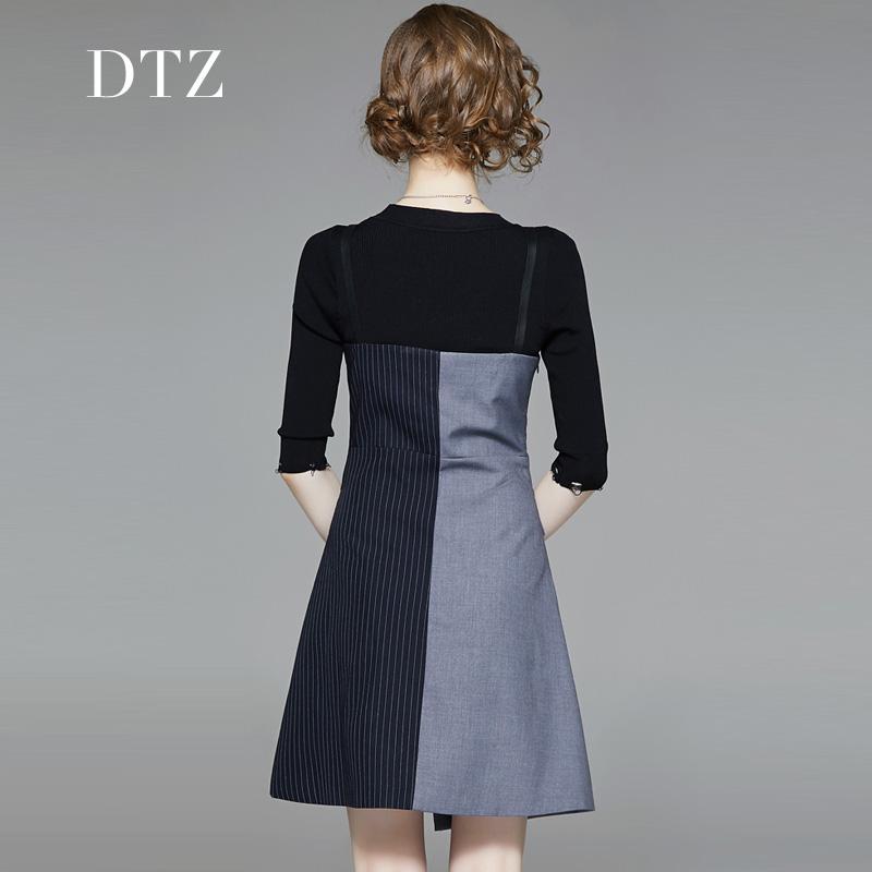 背带连衣裙女两件套2019女秋季新款潮韩版气质收腰显瘦小个子减龄