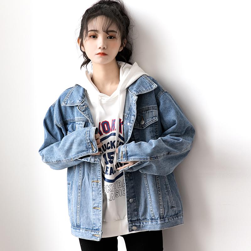2021秋季新款复古蓝色牛仔外套女宽松韩版学生ins潮春秋BF风上衣