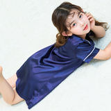 Girls summer thin section of ice silk nightgown princess pajamas baby girl pure silk nightgown parent-child mother and child