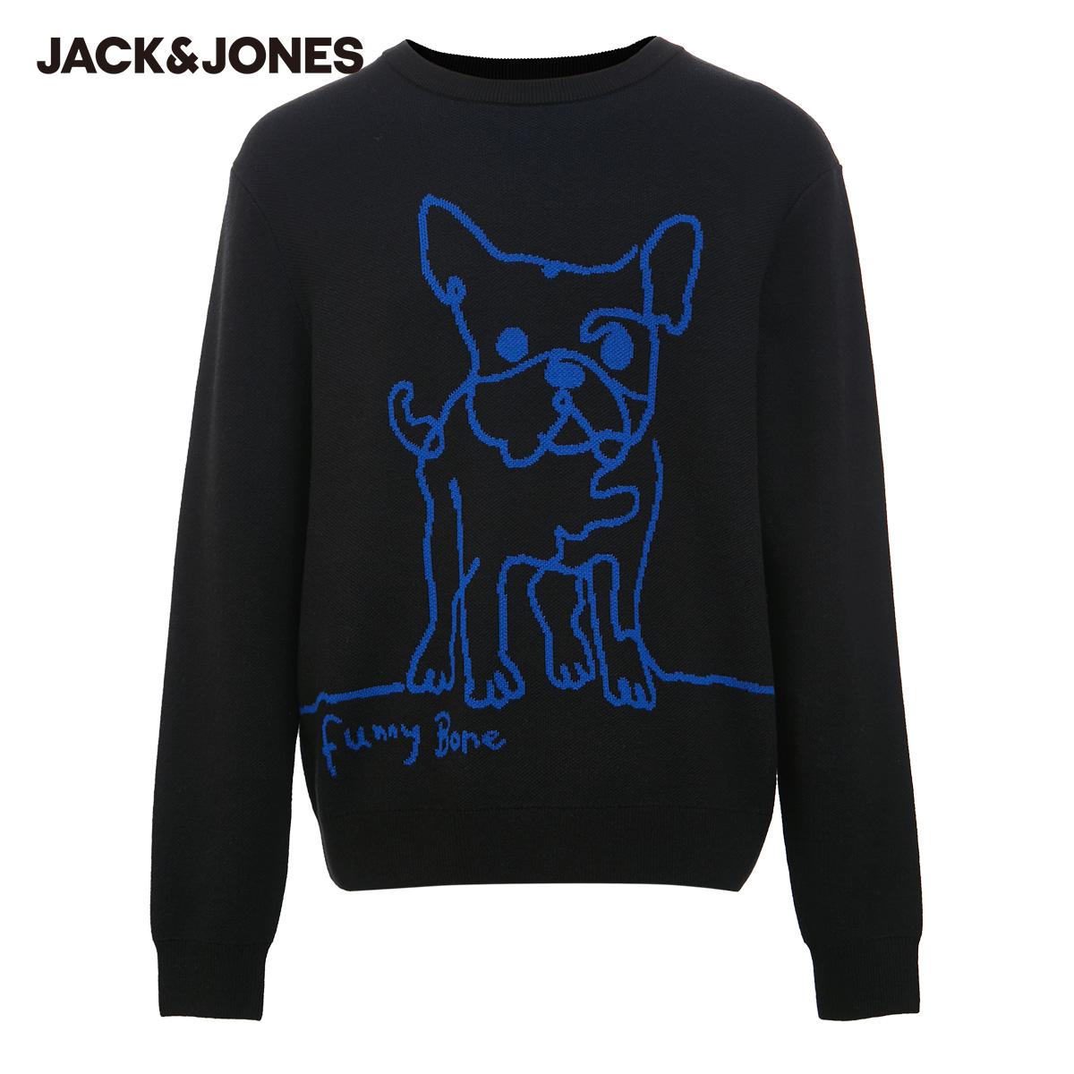 【预售】杰克琼斯冬男圆领棉线型卡通趣味图案潮针织衫220424050