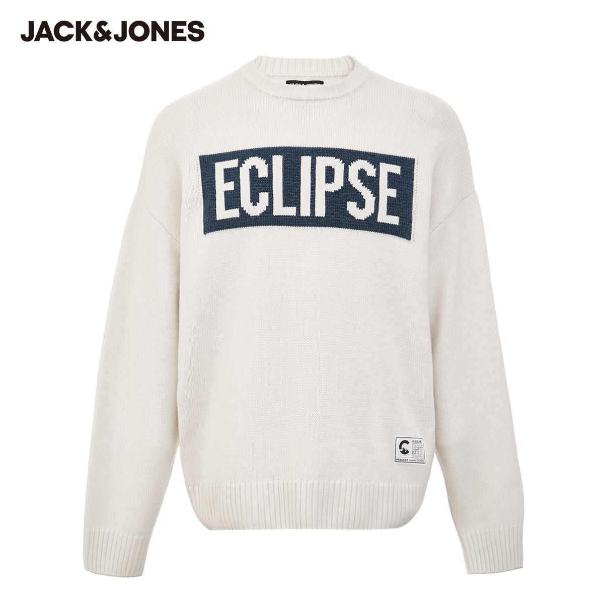【预售】杰克琼斯秋撞色字母织花绵羊毛套头针织衫时尚百搭潮流