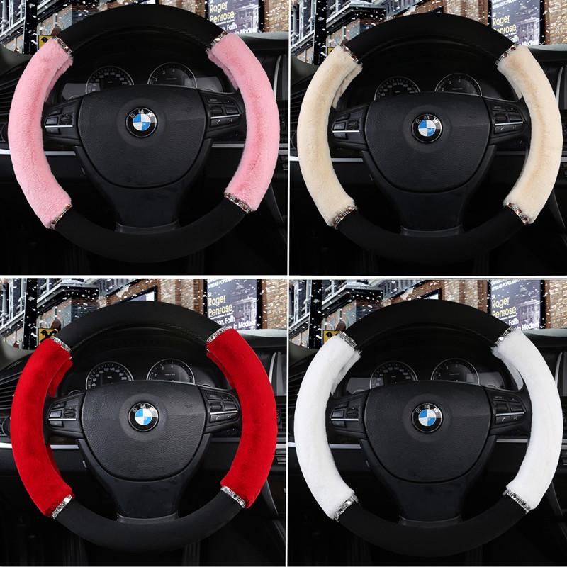 冬季短毛绒汽车方向盘套女通用型韩国可爱大众速腾宝马科鲁兹朗逸