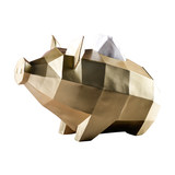 Nordic modern geometric golden pig tissue box creative living room dining room home tray pig year napkin tray