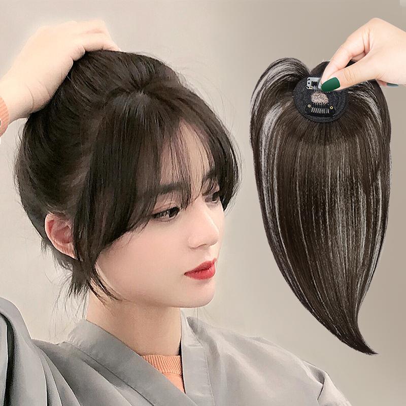 空气刘海假发女自然隐形真发假发片头顶补发无痕网红3d法式假刘海