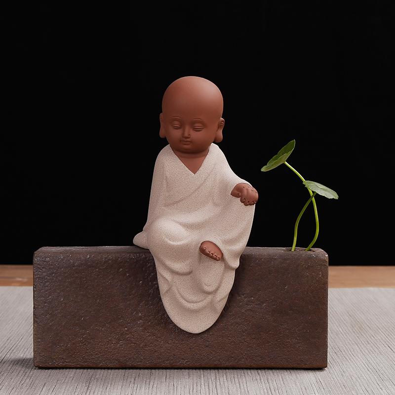 茶艺小和尚禅意小沙弥创意个性禅意可养紫砂茶宠茶盘茶具摆件精品