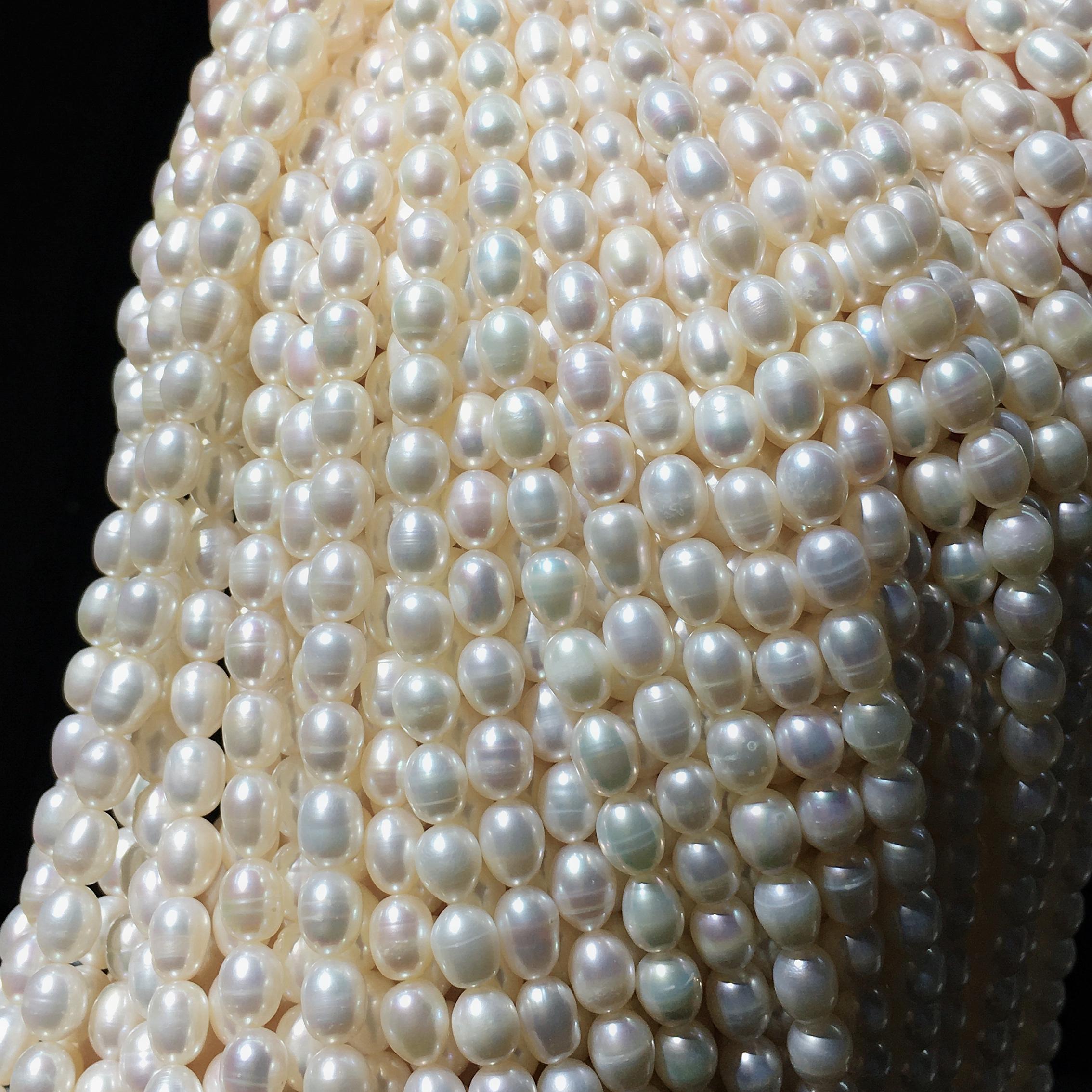 米形微瑕项链手链自制半成品散珠手工材料辅料 7MM 6 淡水真珍珠 DIY