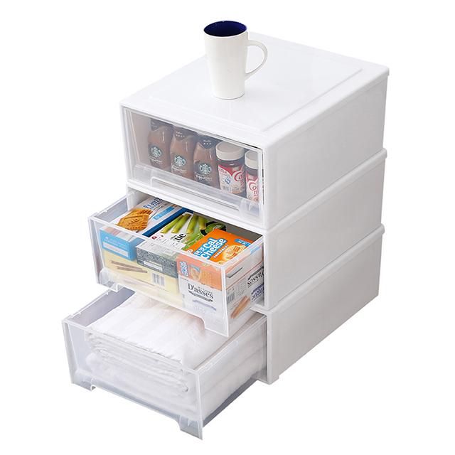 收纳箱抽屉式零食收纳盒家用塑料衣服收纳柜透明整理箱衣物储物箱