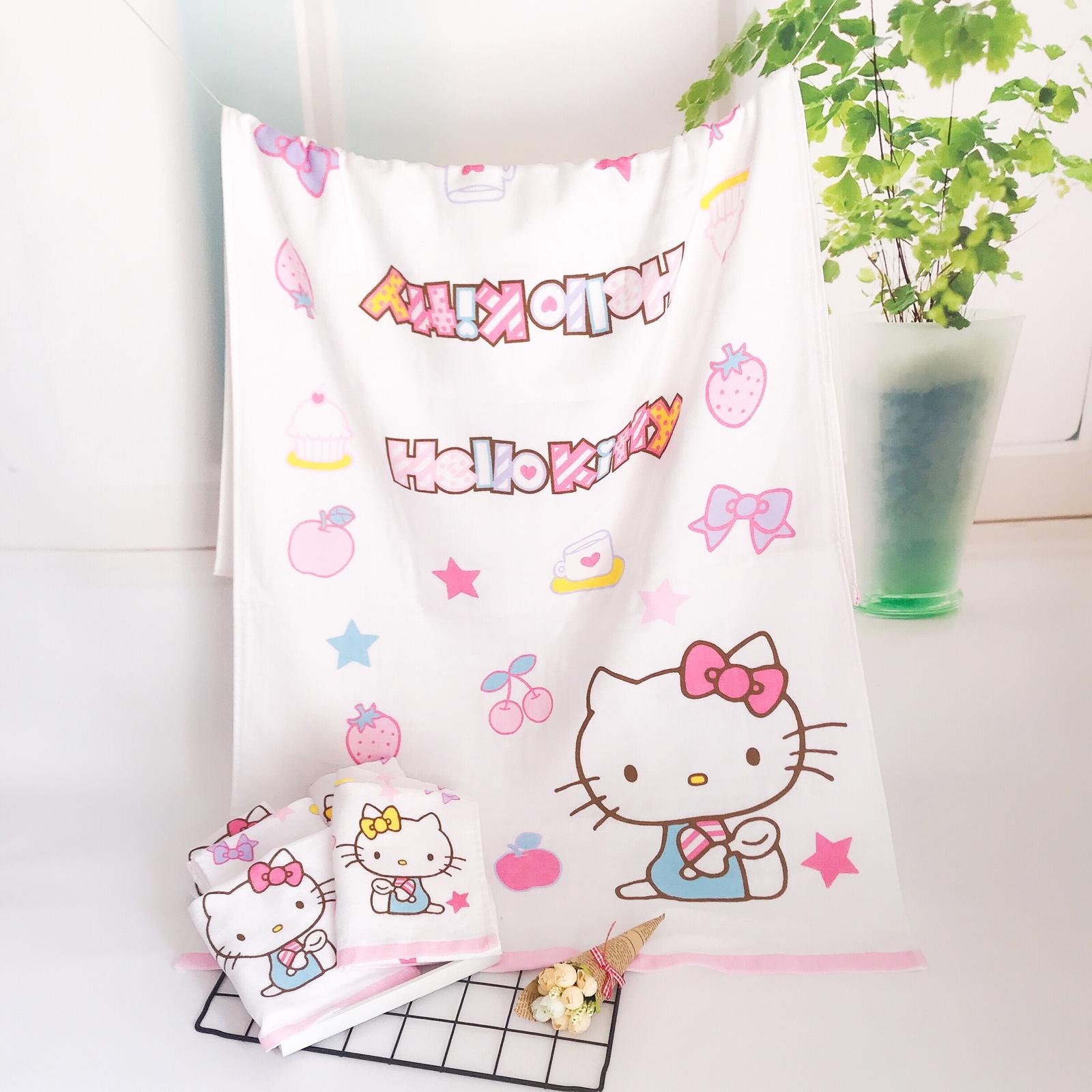 可爱猫咪宝宝儿童卡通无捻柔软吸水童巾方巾纯棉纱布浴巾