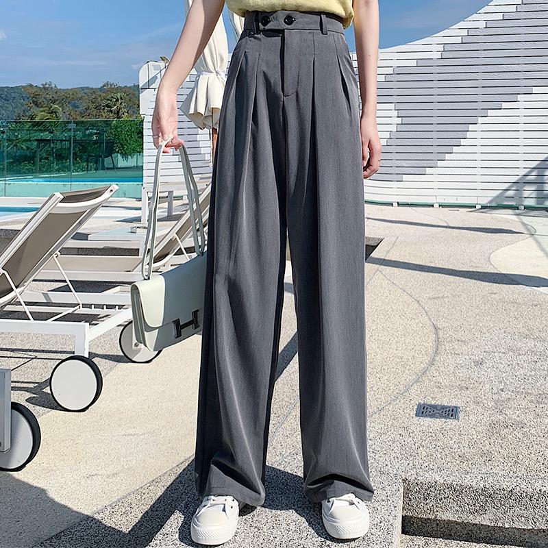 阔腿裤女高腰宽松垂感直筒裤子夏季薄款灰色春秋西装拖地休闲西裤