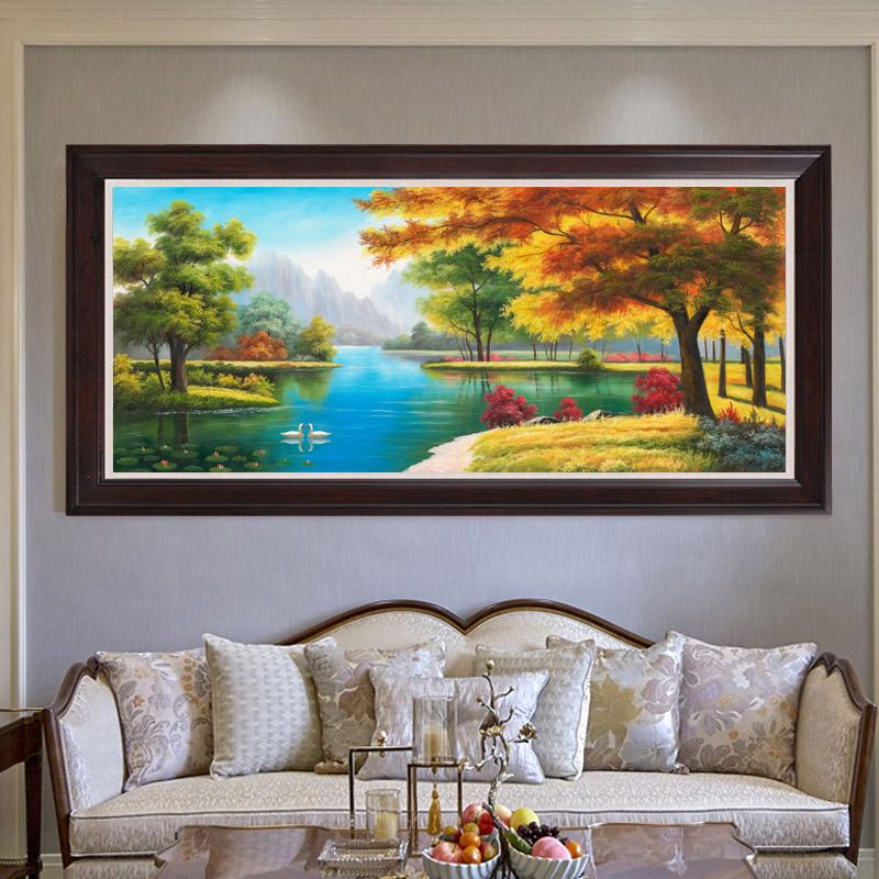 北歐美式純手繪油畫 天鵝湖山水掛畫 客廳餐廳靠山胡楊風景裝飾畫