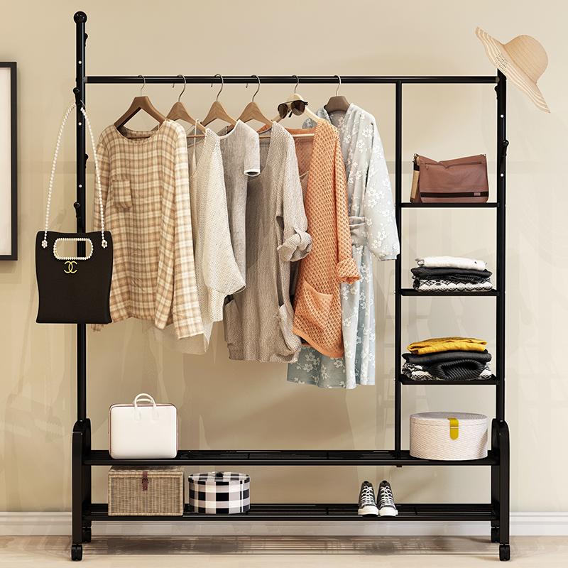 单杆式凉衣架落地简易晾衣杆家用卧室内晒衣架折叠阳台挂衣服架子