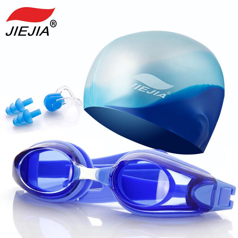 捷佳泳镜泳帽男女成人套装长发防水硅胶韩国时尚可爱游泳帽平帽