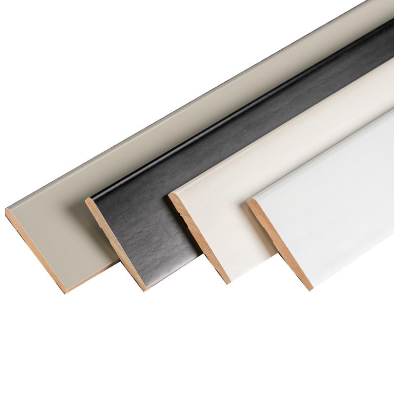 直角平板白色地脚线6公分8厘米烤漆实木贴脚线踢脚线象牙白黑色
