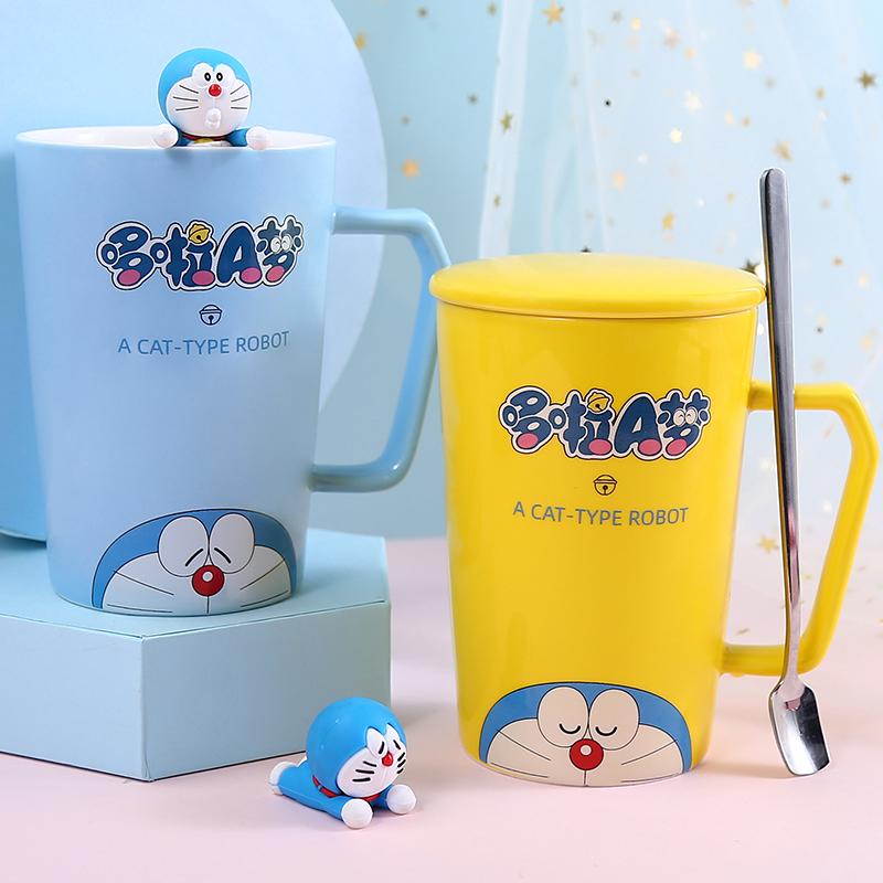 哆啦a梦水杯少女心杯子陶瓷带盖勺马克杯可爱卡通家用创意咖啡杯