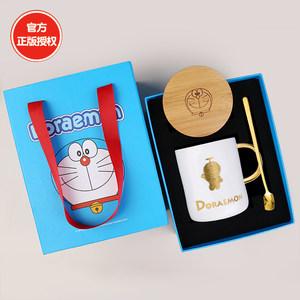 哆啦a梦水杯马克杯情侣一对款杯子陶瓷带盖勺办公室咖啡杯礼物女