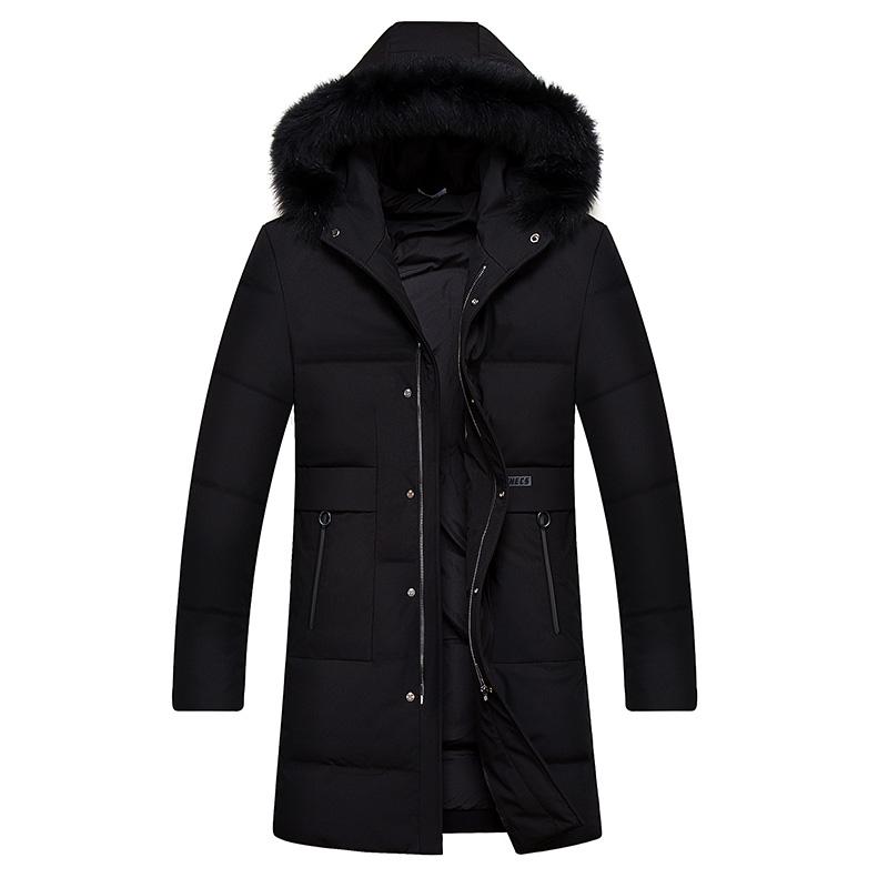鸭鸭羽绒服男狐狸毛领中长款中老年爸爸冬装连帽加厚派克休闲外套
